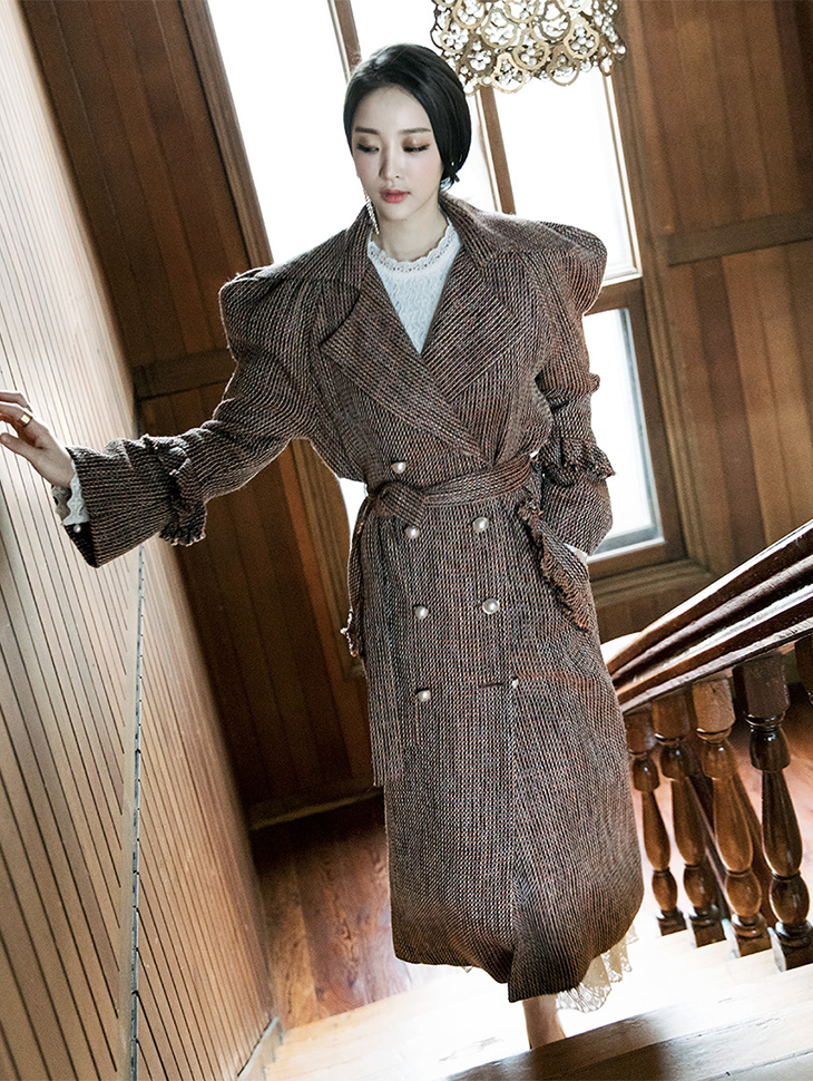 J-4854 Balloon pearl Trimming Tweed Trench Coat (Beltset)