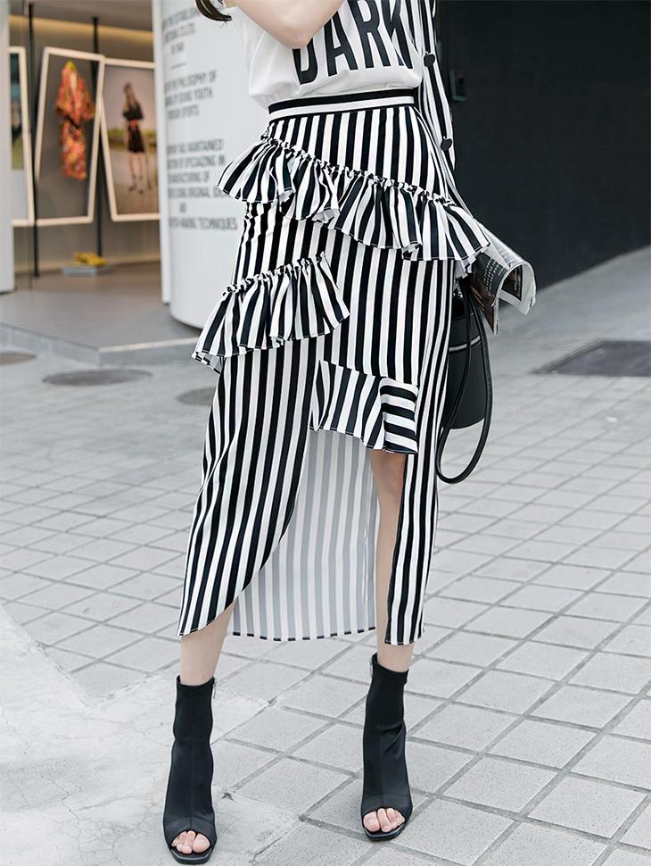 SK1682 double Frill unfold Stripe Skirt