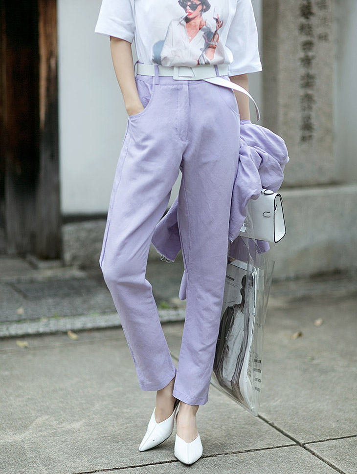 P1851 triple clean fits Linen Slacks Pants * Sora color *
