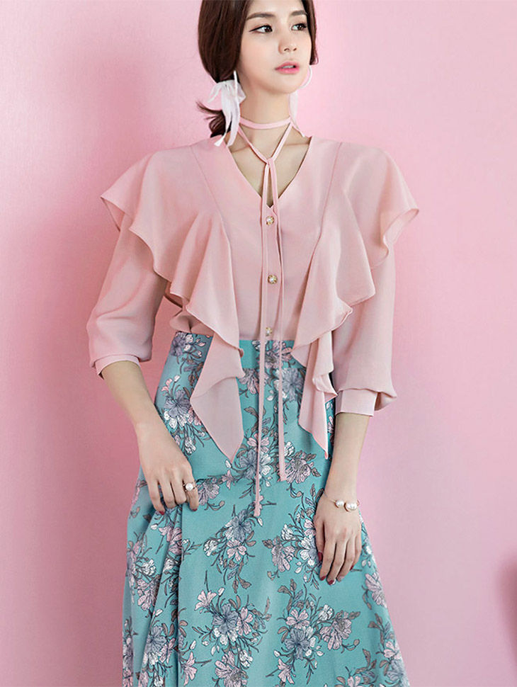 B2213 Holic Pearl Button ruffled Blouse (String SET) (24th REORDER)