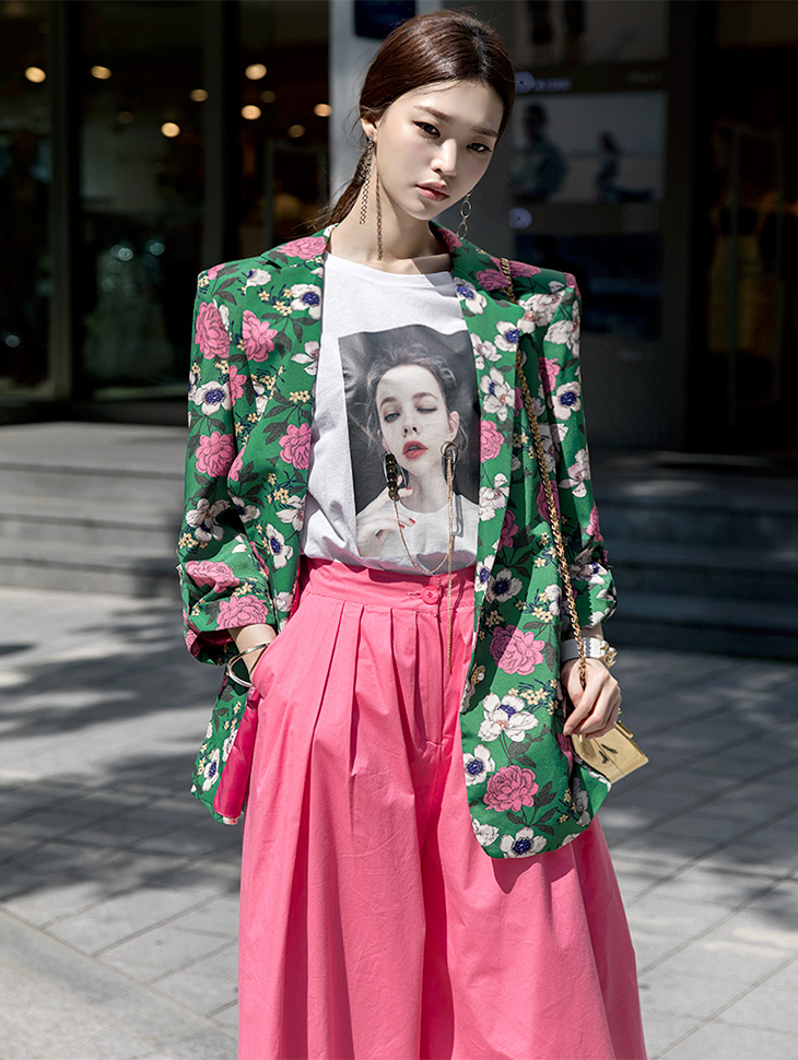 J-4940 Freedom Flower Ring Jacket * Yellow, Navy color *