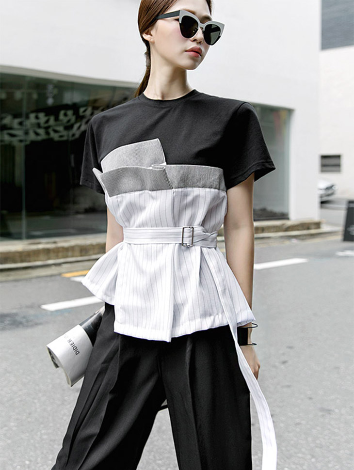 E-4346 Live Square layered top (belt set) (15reorder)