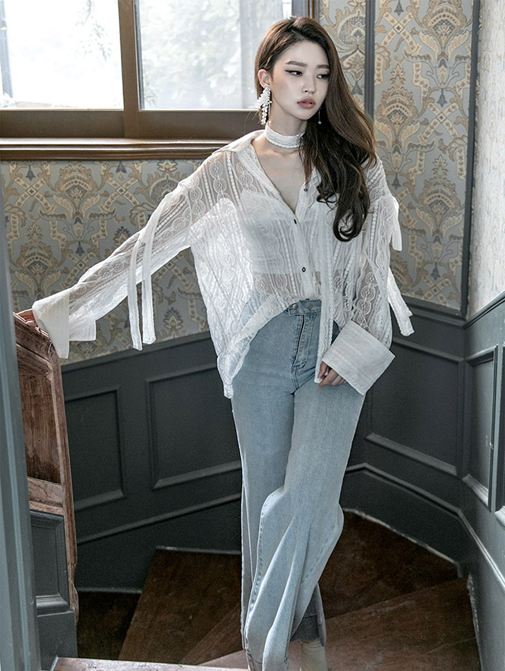 B9004 Lace Patterns mix See-through Blouse (Tieset) (7reorder)