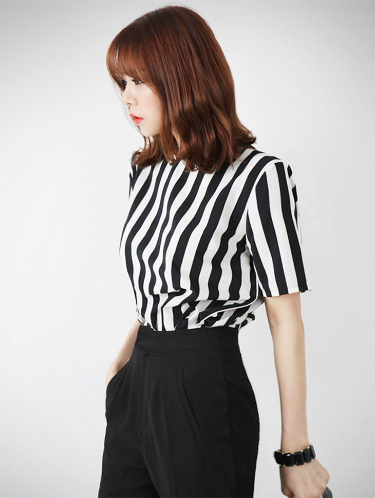 B867 Vertical Stripe Zipper Blouse (33th REORDER)