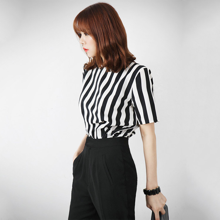 B867 Vertical Stripe Zipper Blouse (33rd Reorder)