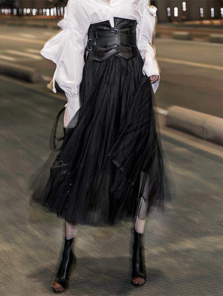 SK1762 volume pleats Xia Line Long Skirt (75th REORDER)