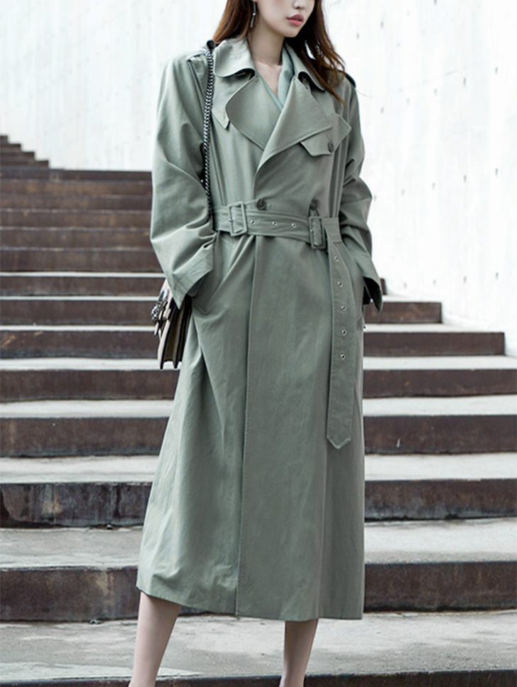 J-5024 French Color two-way Trench Coat (belt set) * Mint color *