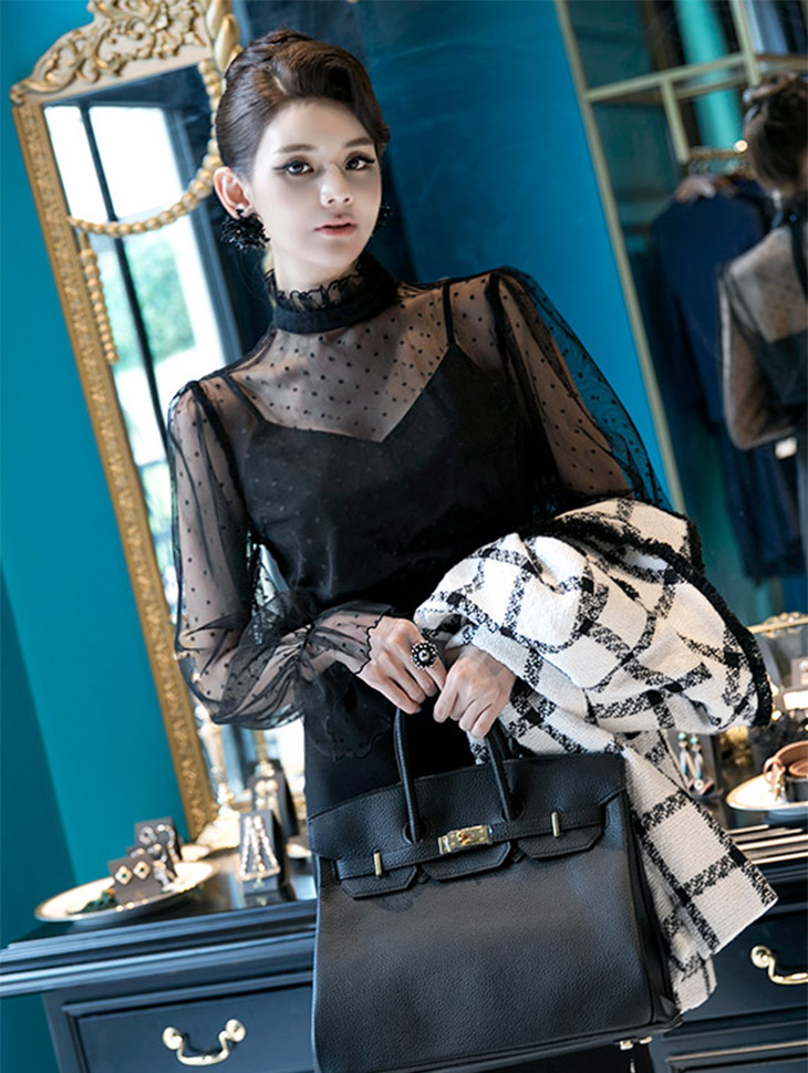 B2330 Dot See-through look layered Blouse (inner set)