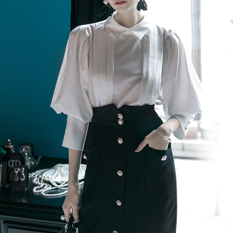 B2327 Back Pearl Line pin tuck Blouse (56th REORDER)