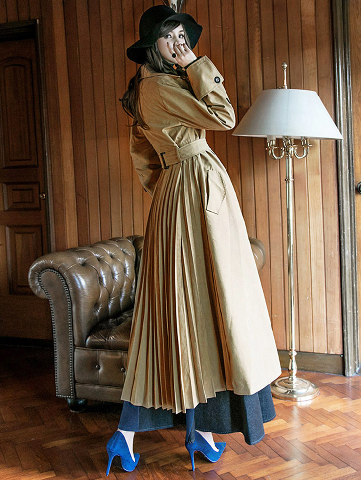 J-5064 Back pleats Long Trench Coat (Beltset) (8th REORDER)