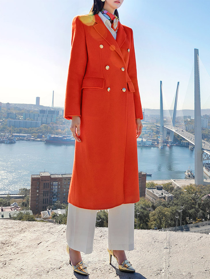 J-5096 Gold button double Long Coat * HAND MADE * SPECIAL SALE *