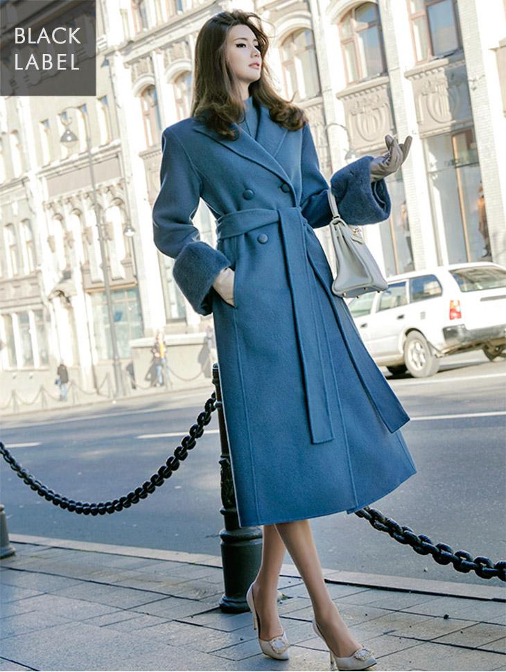 J-5087 Drea Mink double Long Coat (Beltset) * Black Label *