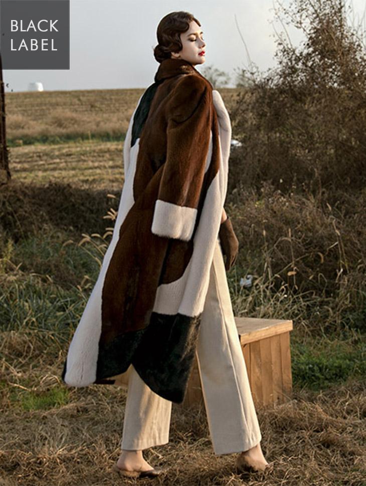 J-5120 Beek Patterning Real Mink Fur Coat * Black Label *