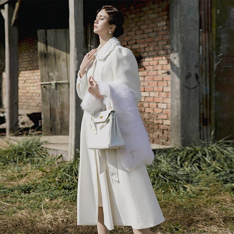 J-5116 Collar Lace wool feminine Coat (Belt, Neck Cover SET) (20th REORDER)