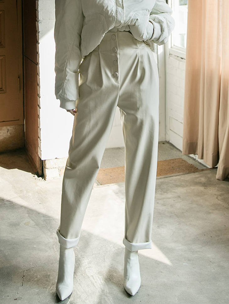 P1955 Leather front pin tuck Pants (12th REORDER)