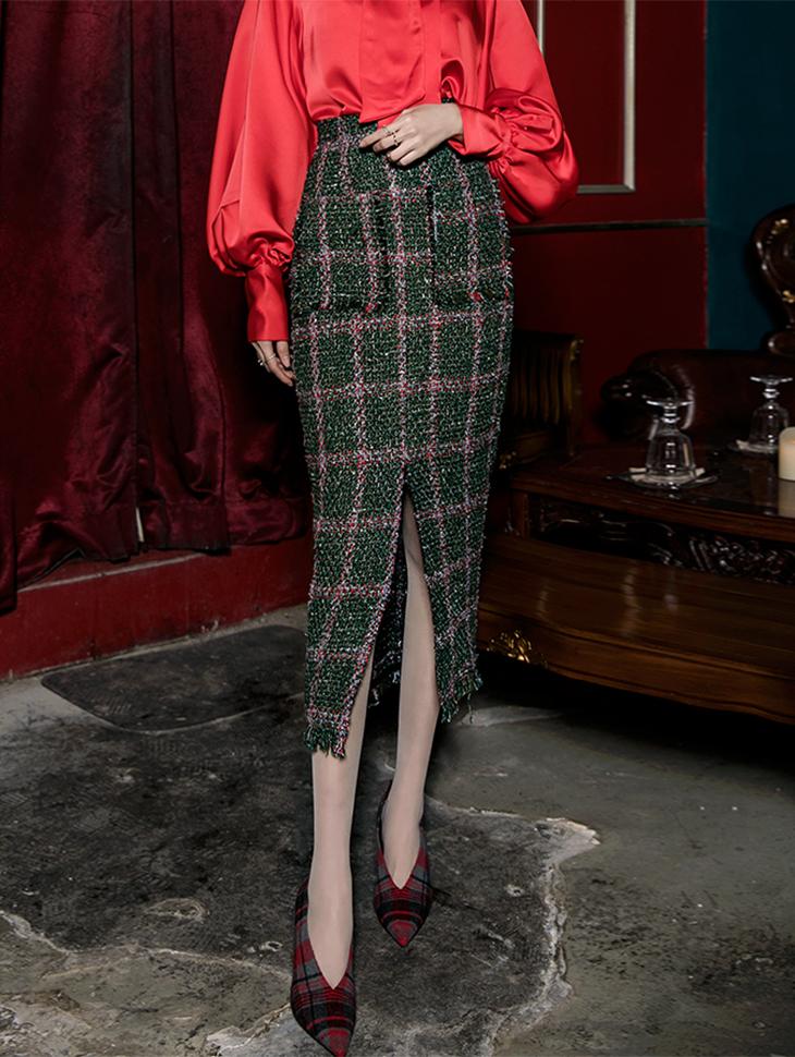 SK9019 Slime Window Check Tweed Skirt (6th REORDER)