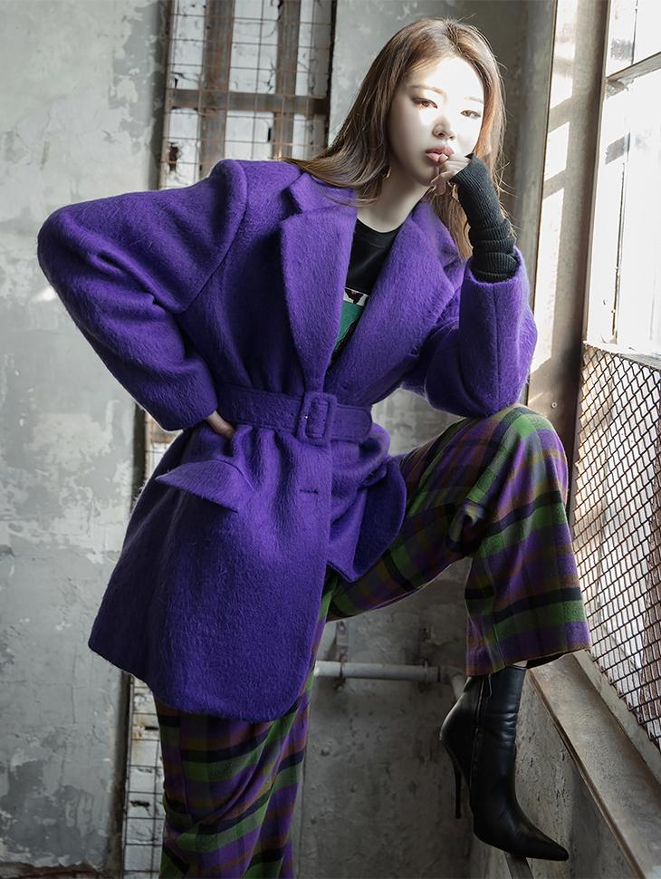 J491 Vivid key point Color Wool Jacket (Beltset) (3reorder)