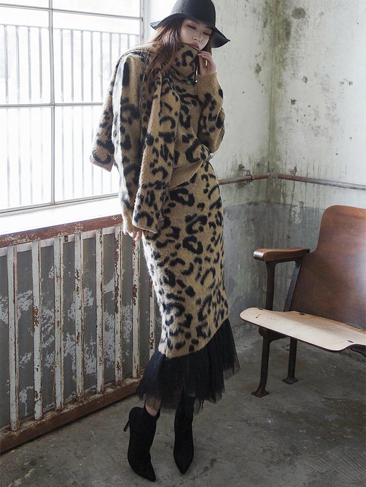 SK1811 Leopard Patterns Knit Skirt