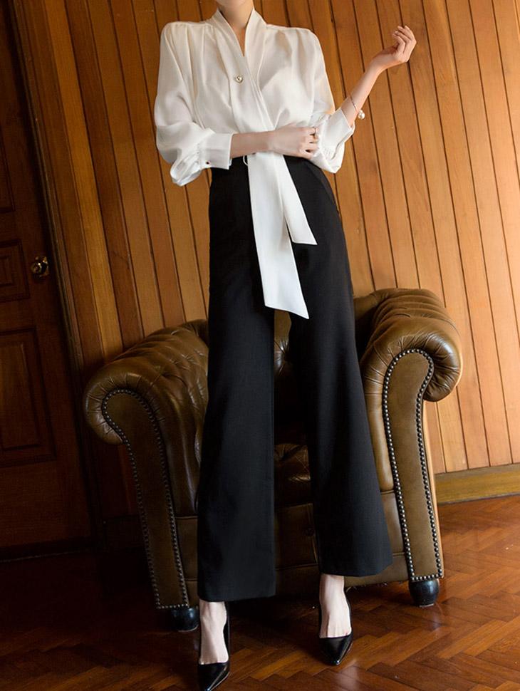 P1967 Amelia pearl Trimming Pants (3reorder)