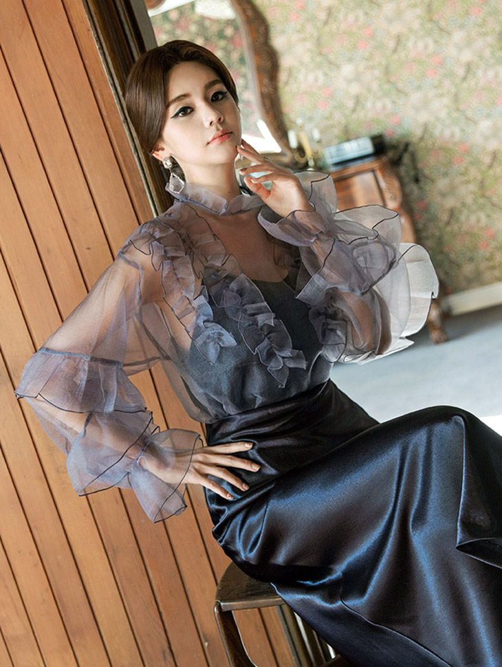 B2354 Olivia Frill See-through look Blouse (3reorder)