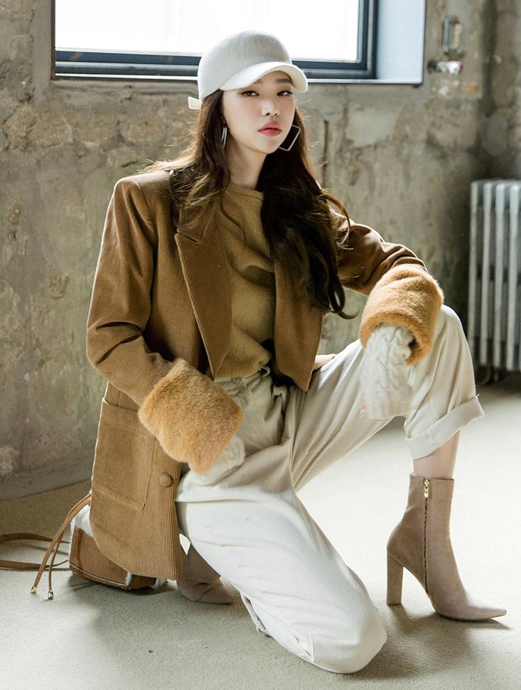 J515 Glen Corduroy Fur Jacket