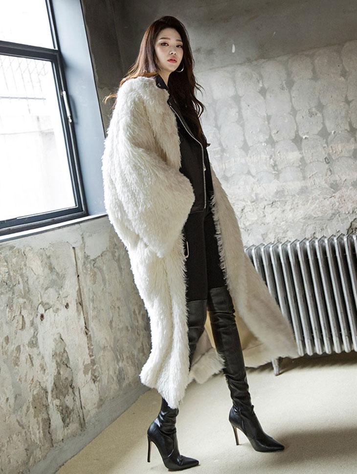 J9010 unique Lapel Fake Fur Coat