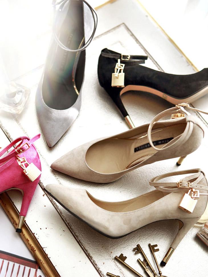 HAR-491 Suede lock Strap heel (key detachable) (8reorder) * HAND MADE *