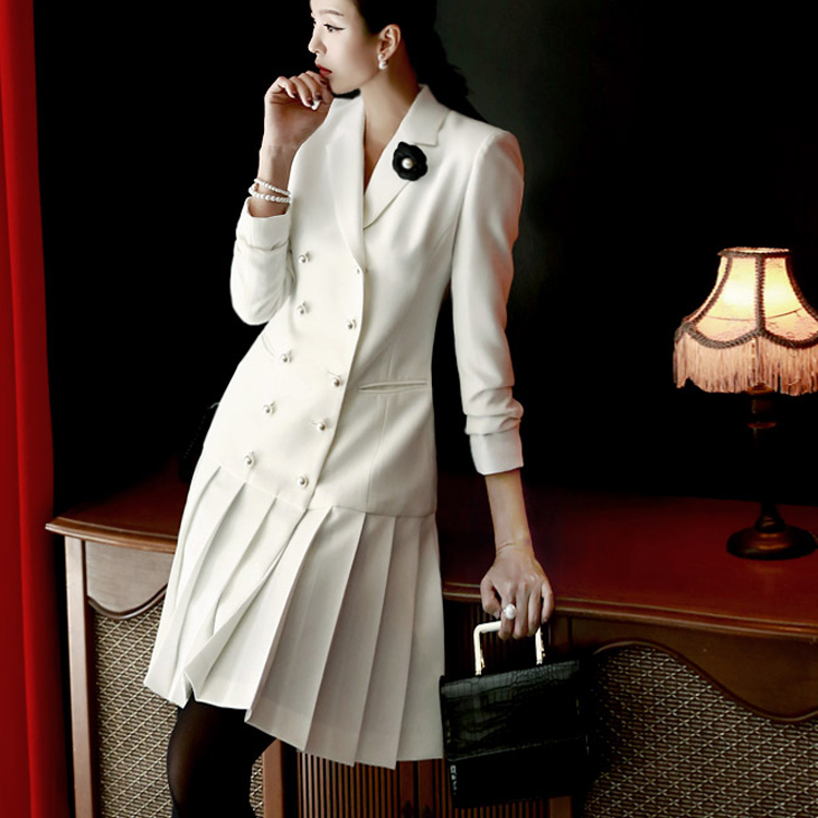 J420 pearl Trimming pleats Jacket * Can be worn as a dress * (75th REORDER)