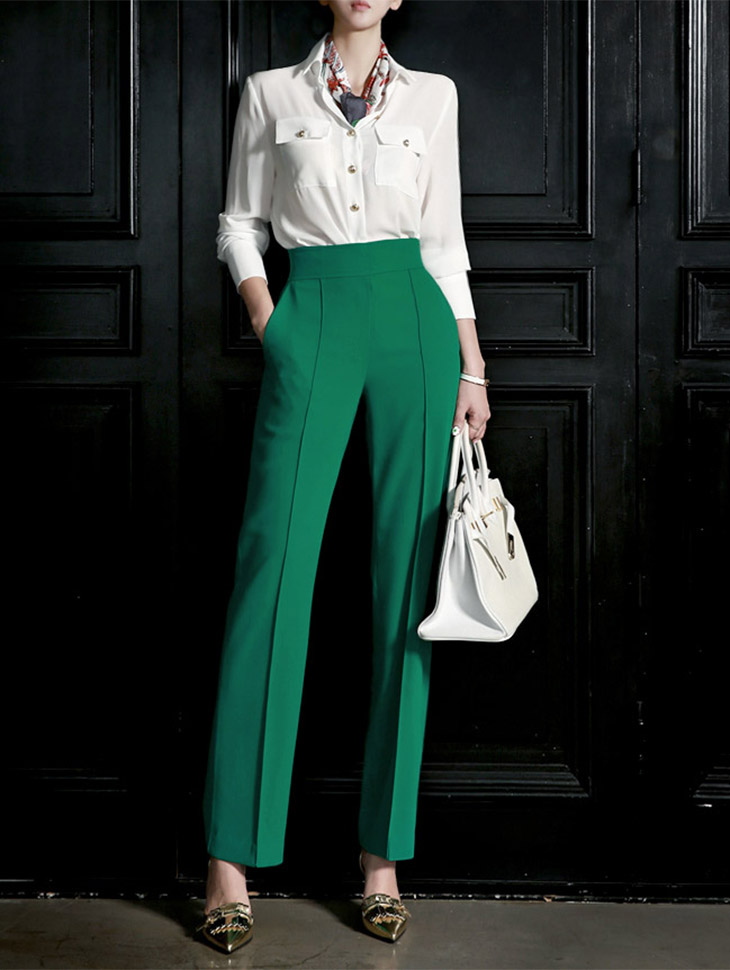 P1653 Lina Modern High-waist Slacks * L size production * (109th REORDER)