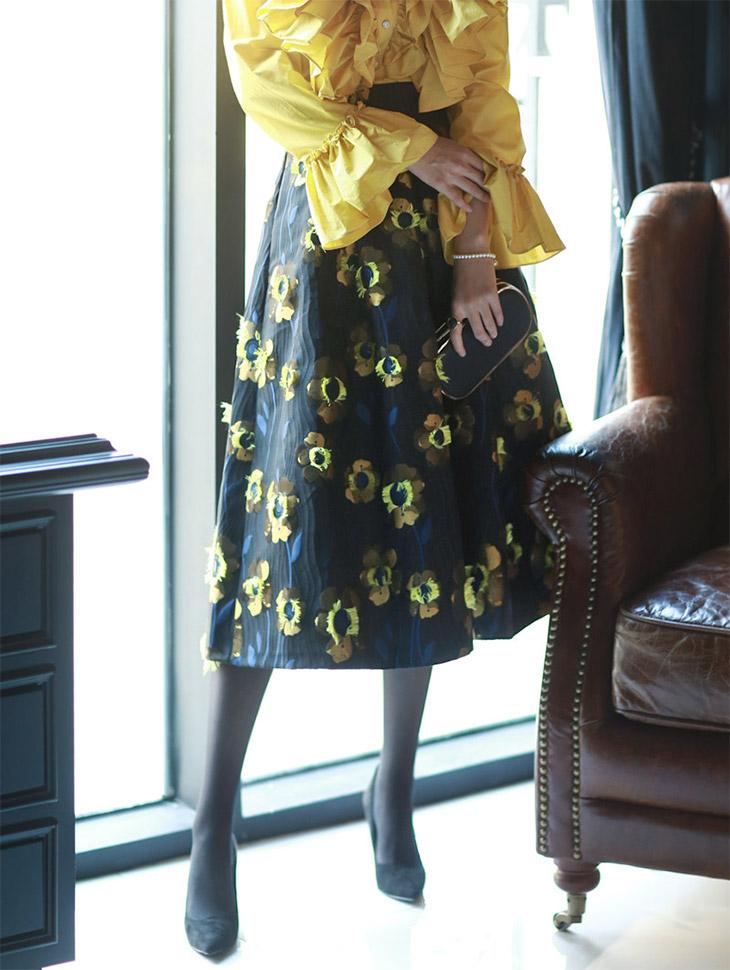 SK1555 Temma Flower Aline Skirt (15reorder)