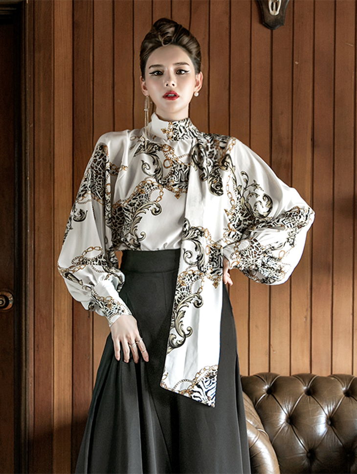 B9010 Animal chain patterned Tie Blouse (3reorder)