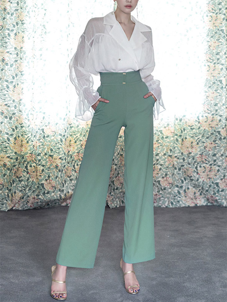 P1913 Kai front buckle Pants (25reorder) * Black color *