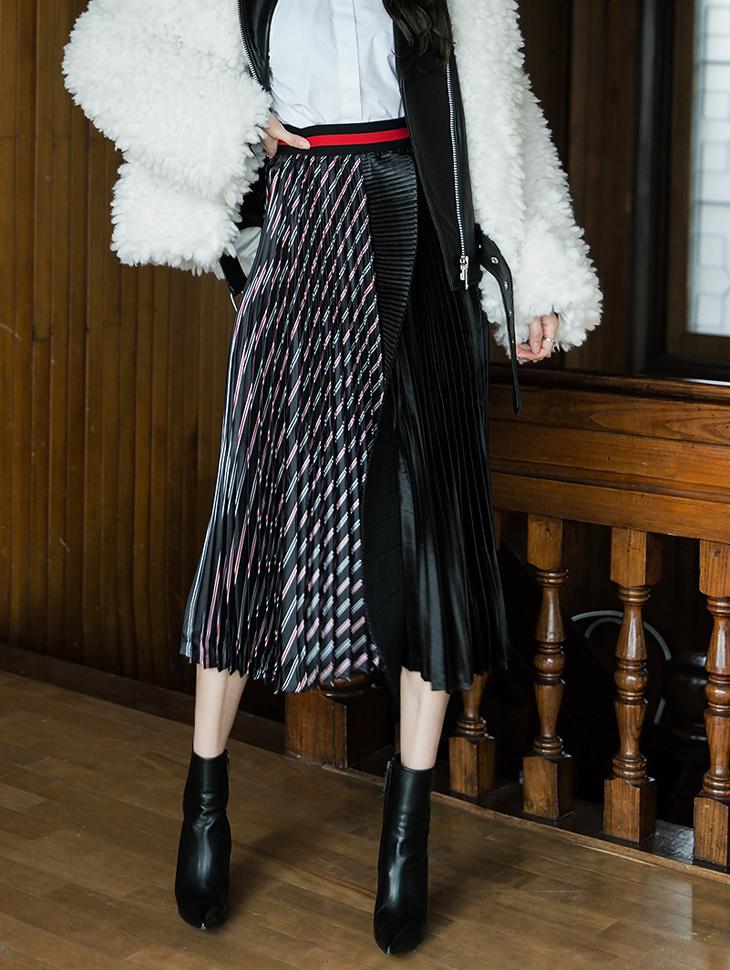 SK1830 Patterns mix Pleats Long Skirt