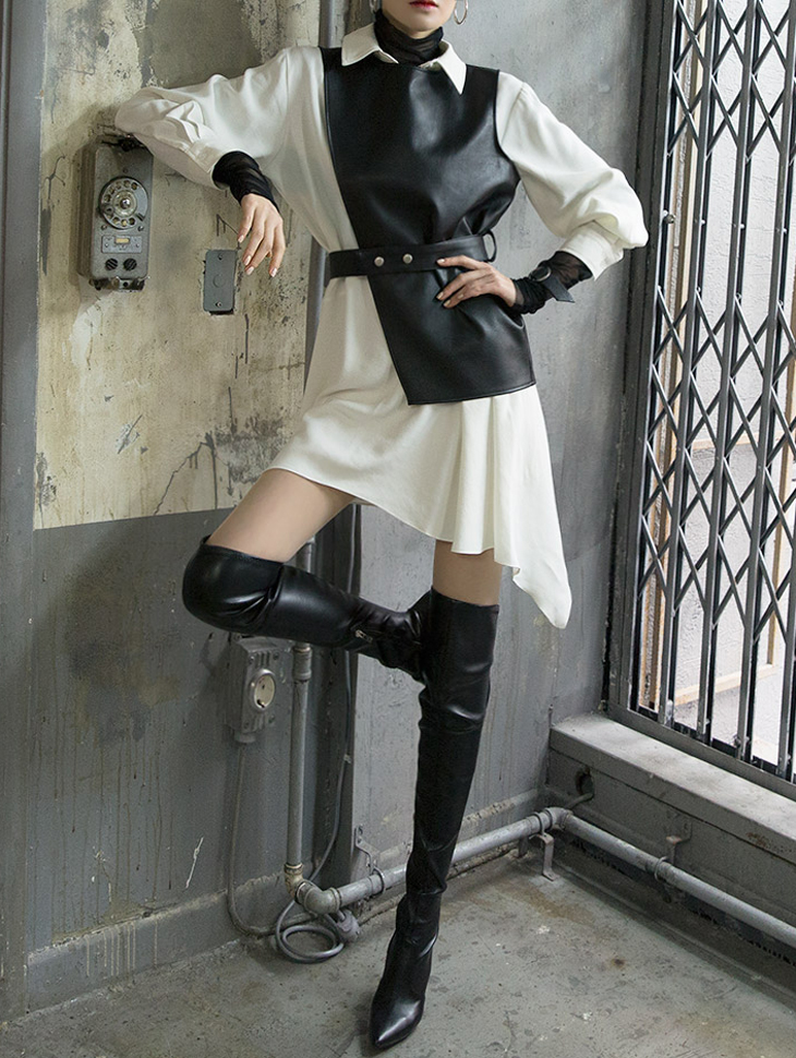 D3719 Holly Leather Shirt Dress (vest & Belt set) (29th REORDER)