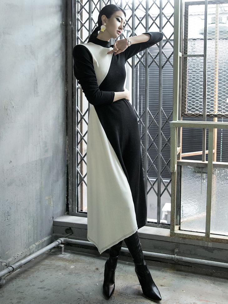 D3715 Lumis Diagonal color combination Dress