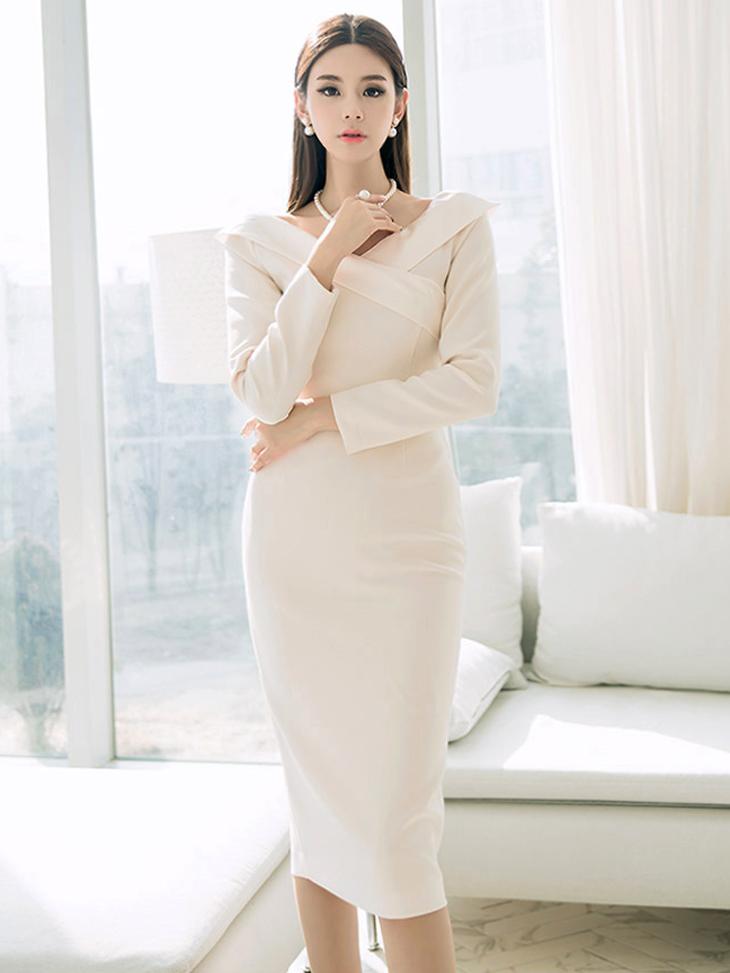 D3722 Blinning Glossy feminine Dress * L size making * (12reorder)