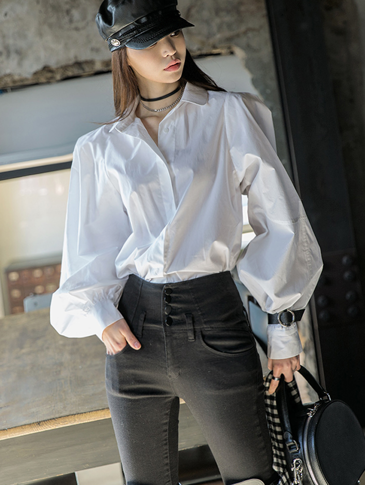 S282 Volume Cotton Puff Shirt