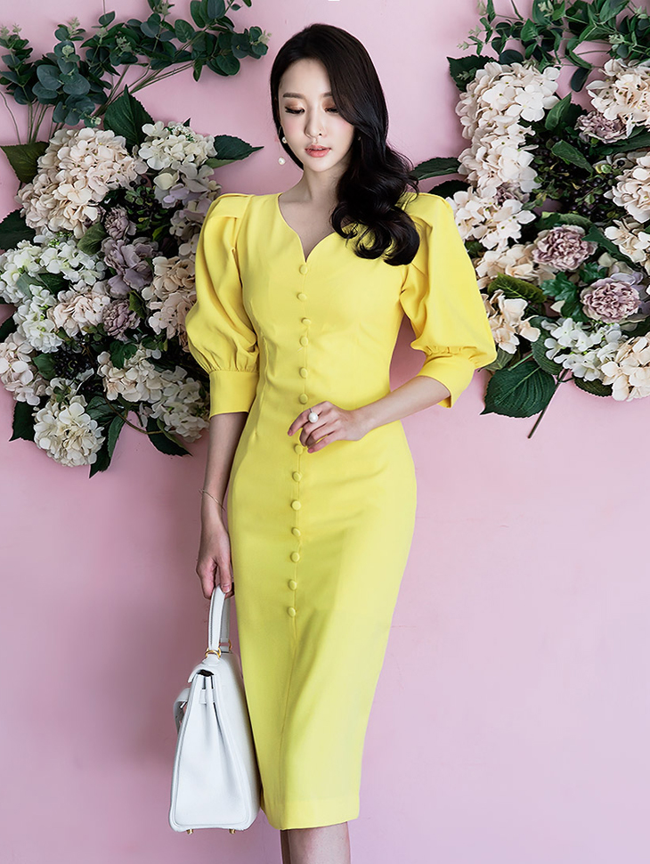 D3522 wave button puff slim dress * large size production * (83th order)