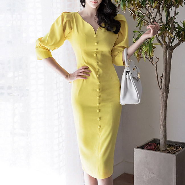 D3522 Wave Button Puff Slim Dress * L size production * (88th REORDER)