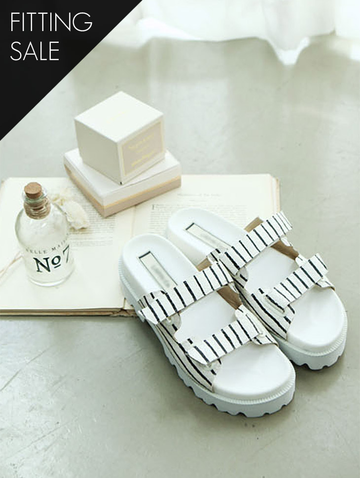 PS1431 Stripe simple clipper shoes * HANDMADE ** Fitting sale *