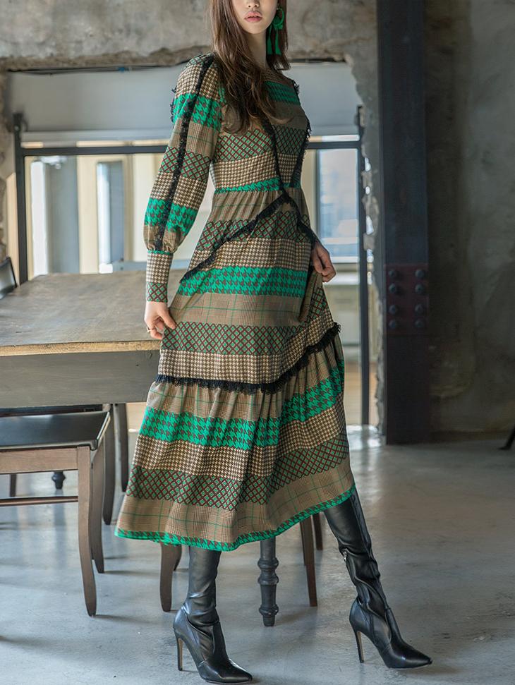 D3726 printing Mono Long Dress (3reorder)