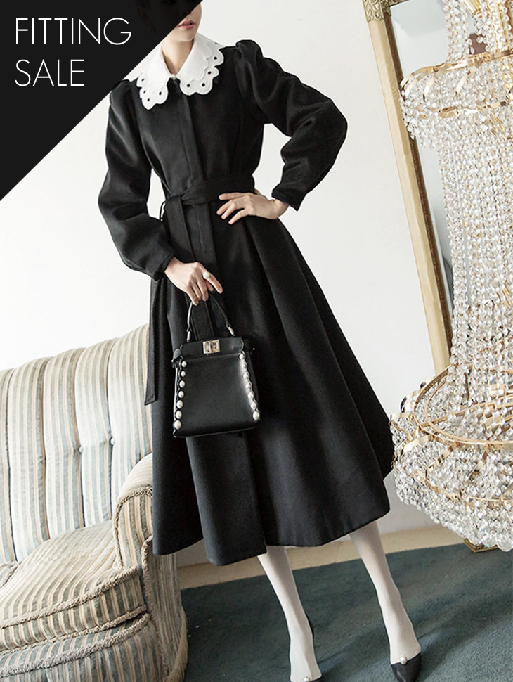 PS1497 Kara Lace Wool feminine Coat (Beltset) (neck cover set) * Fitting Sale *