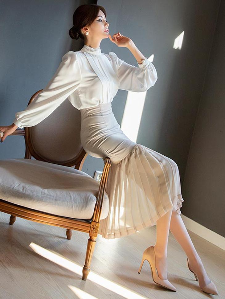 SK1839 Talin Pleats Skirt * Black color *