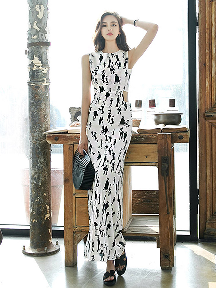 D9020 Drawing Illustration Slit Dress (8reorder)