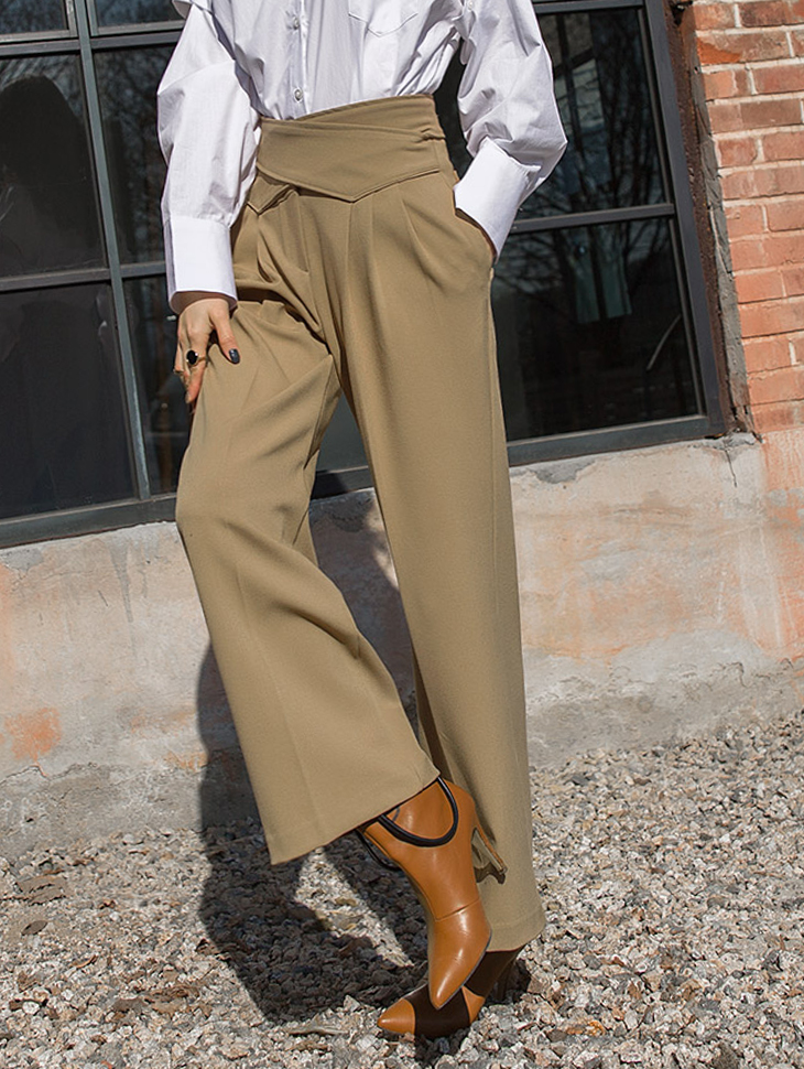 P1989 High cross Slacks Pants * Black color *