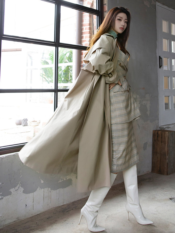 J544 Shawl Poin Classic Long Trench Coat (Beltset)