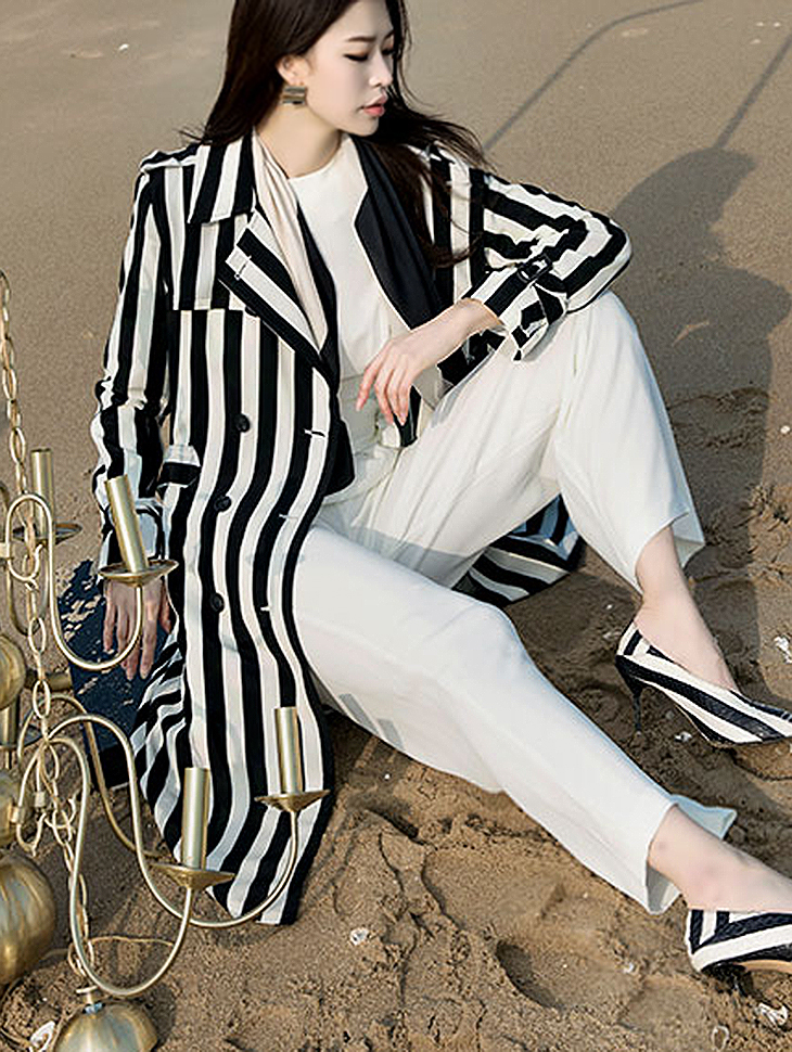 J-4857 French Stripe Trench Coat (sleeve belt set) (12th REORDER)