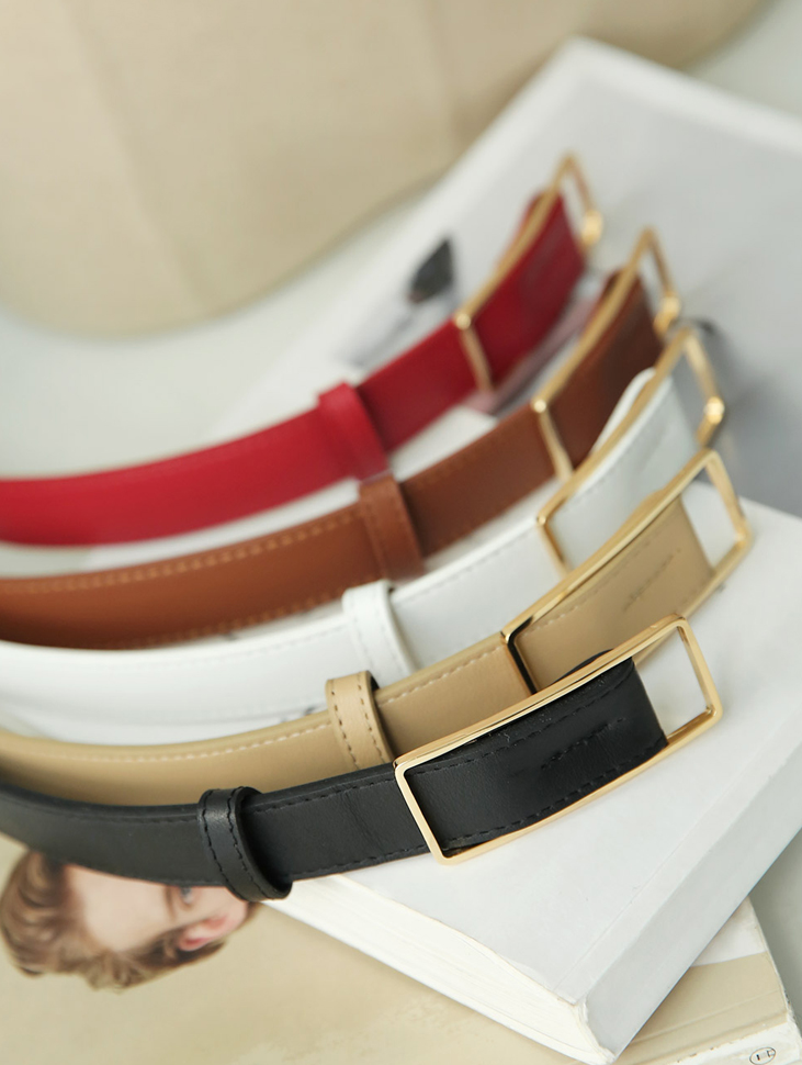 AT-310 Gold Square Leather Belt (3reorder)