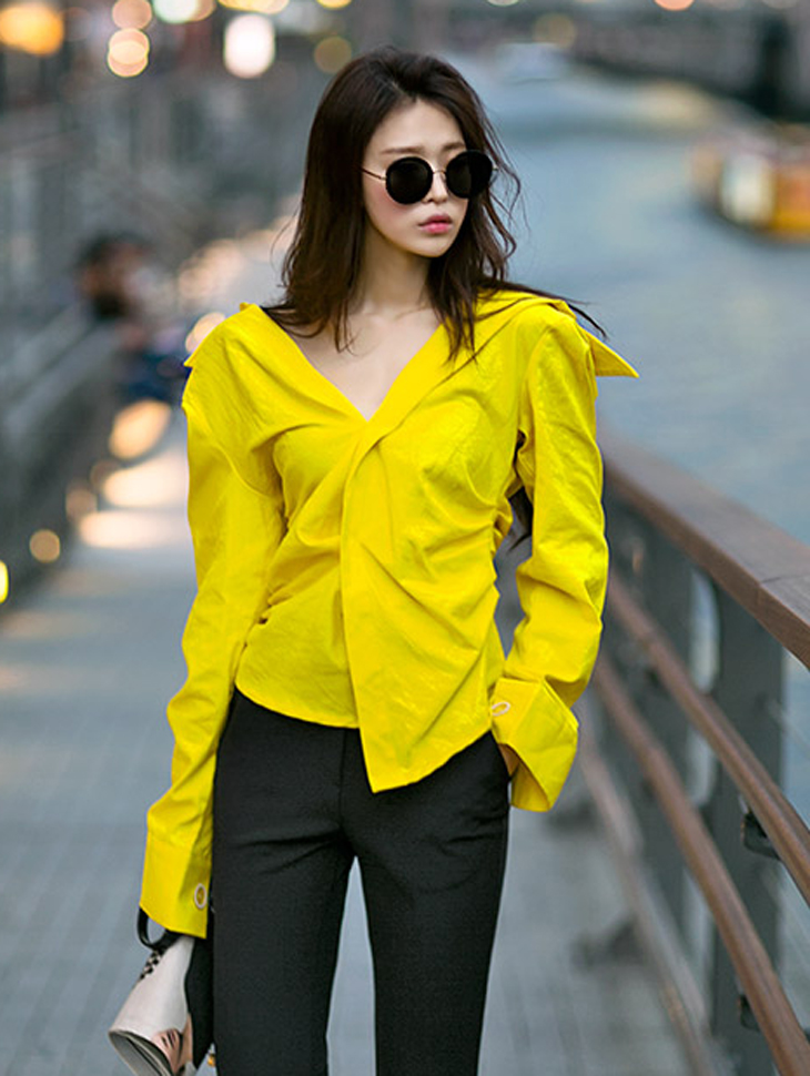 S263 Waist Color Wide Cuff Shirt (11reorder)