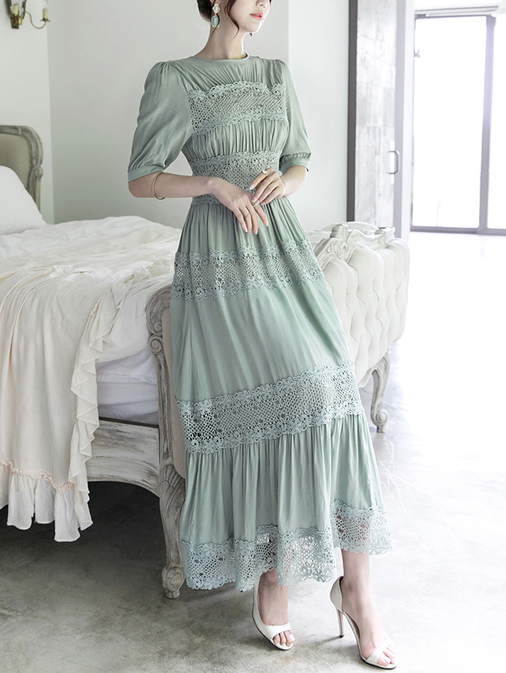 D3578 Race Point Long Dress (39reorder)